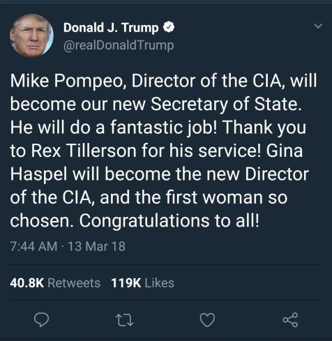 Tillerson Tweet
