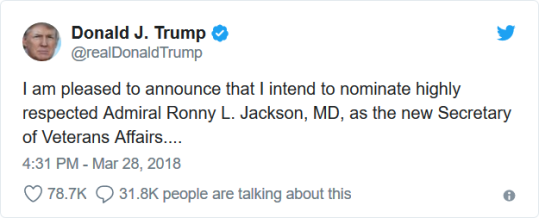 Ronny Jackson Tweet